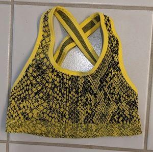 TLA by Morgan Stewart Sports Bra Yellow Snake XS/S
